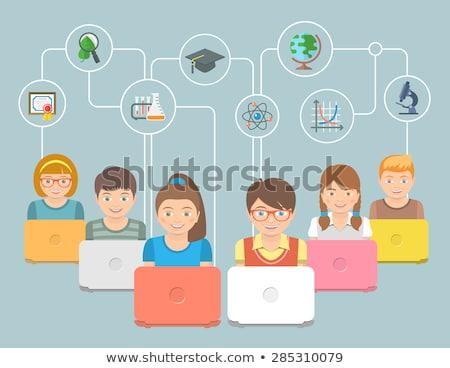 Online oktatás gyerekek illusztráció modern csoport Stock fotó © vectorikart