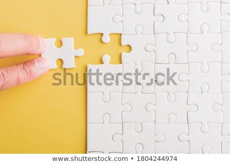 Missie puzzel plaats vermist stukken tekst Stockfoto © tashatuvango