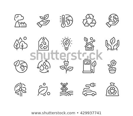 leaf house thin line icon stock photo © rastudio