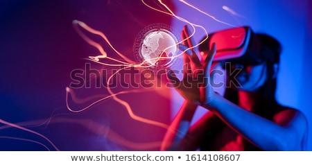 Tecnologia feliz mulher jovem seis ouvir música Foto stock © Fisher