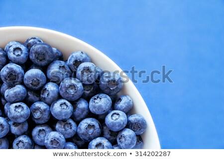 Blueberries in white bowl on colorful blue backround Stock photo © jaffarali