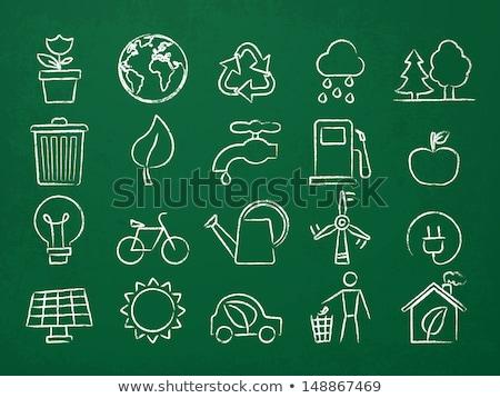 electric car icon drawn in chalk stock photo © rastudio