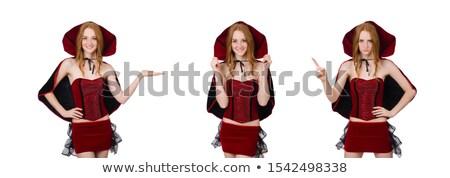 Mooie dame fluwelen jurk cap geïsoleerd Stockfoto © Elnur