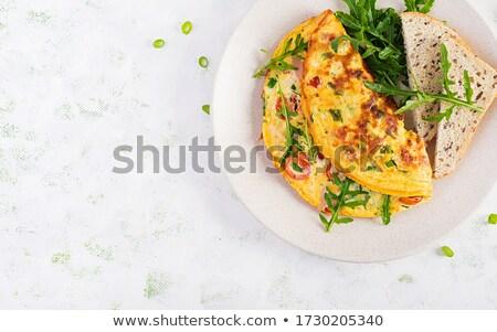 ハム チーズ 白 コピースペース 卵 ストックフォト © rojoimages