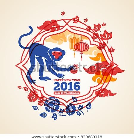 Stock fotó: Boldog · Kína · új · év · majom · 2016 · háromszög