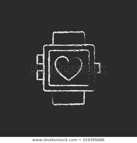 monitor · on-line · tutorial · ícone · giz - foto stock © rastudio