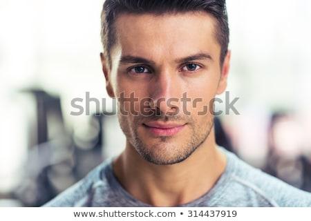 肖像 美男子 強健的身體 槓鈴 黑色 商業照片 © deandrobot