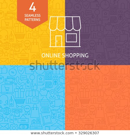 thin line art online shopping market business pattern set stock photo © anna_leni