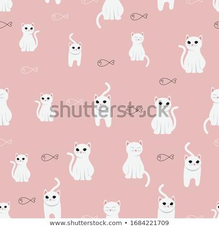 Funny cartoon grumpy cat, vector Eps10 illustration. Stock photo © ikopylov