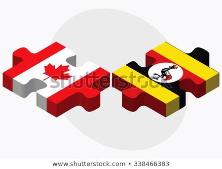 Stock fotó: Kanada · Uganda · zászlók · puzzle · izolált · fehér