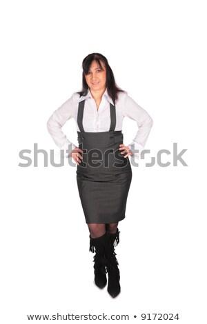 Stock fotó: Középkorú · nő · pózol · üzlet · kéz · mosoly