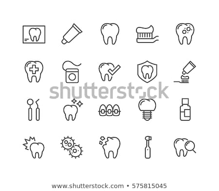 Fogkefe fogkrém vonal ikon háló mobil Stock fotó © RAStudio