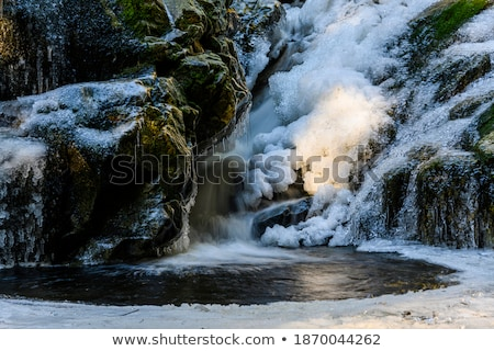 Icicles formation in waterfall Stock photo © Juhku