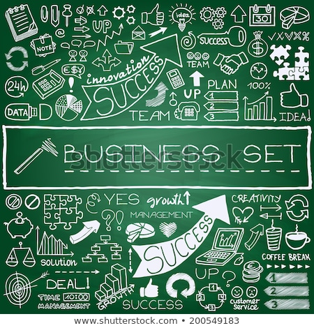 green chalkboard with hand drawn business strategy stock photo © tashatuvango