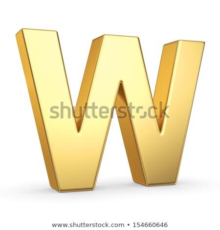 Letra w polido dourado objeto branco Foto stock © creisinger
