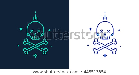 kafatası · çapraz · kemikleri · hat · ikon · web - stok fotoğraf © rastudio
