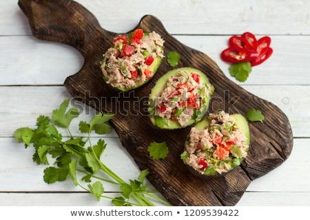 фаршированный авокадо продовольствие фрукты пластина мяса Сток-фото © Digifoodstock
