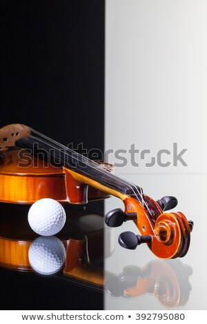 old violin and golf ball on black and white background stock photo © capturelight