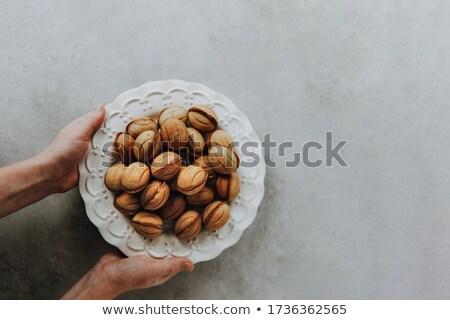 Walnoot cookies romig vulling chocoladestroop Stockfoto © Digifoodstock
