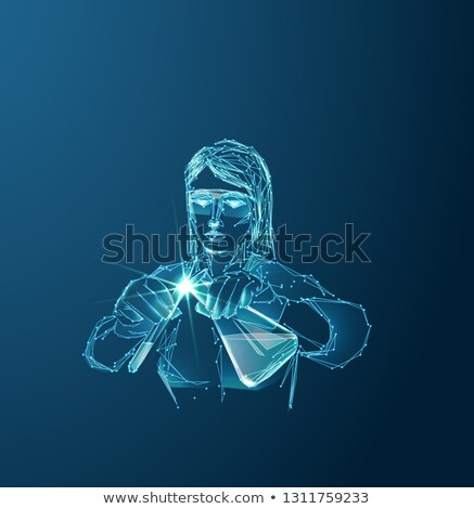 férfi · sugárzás · öltöny · kémcső · áll · nukleáris - stock fotó © rastudio