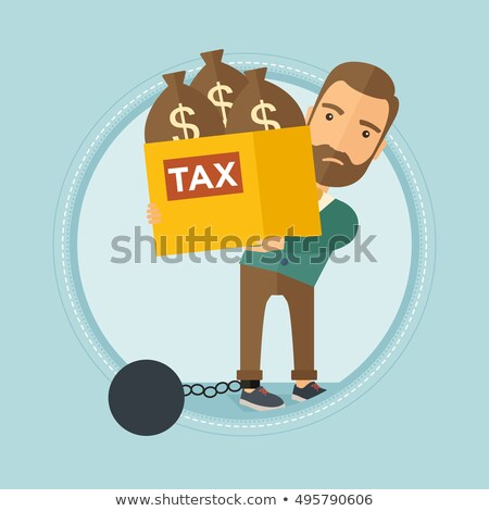 chained man with bags full of taxes stock photo © rastudio