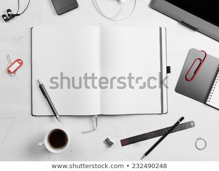 keys with empty note on wooden table stock photo © fuzzbones0
