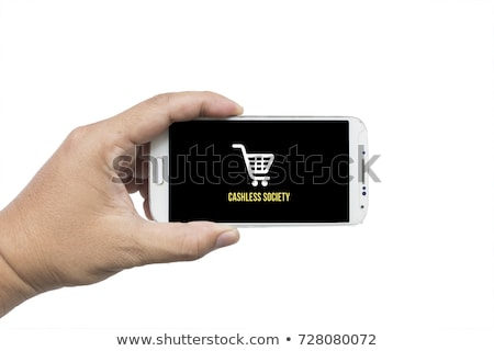 Businessman holding smartphone with Cashless society title Stock photo © stevanovicigor