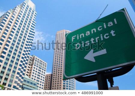 Сток-фото: подробность · Бостон · Skyline · дорожный · знак · Финансовый · район