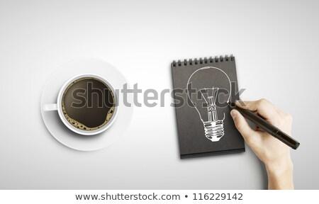 блокнот · Идея · инструменты · Desktop · инженер · школы - Сток-фото © fuzzbones0
