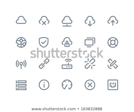 Flèche bouclier sûr téléchargement logo icône Photo stock © cidepix