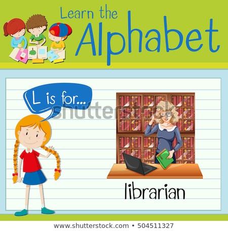 Kütüphaneci kitaplar çocuklar çocuk arka plan Stok fotoğraf © bluering