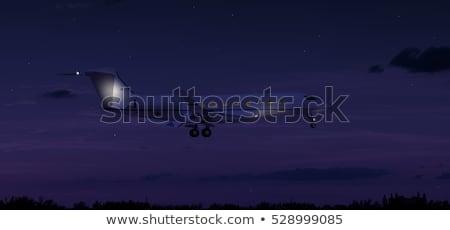 jelenet · repülőgép · repülés · illusztráció · tenger · háttér - stock fotó © bluering