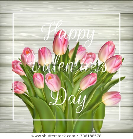 Rosa tulipanes edad utilizado madera eps Foto stock © beholdereye