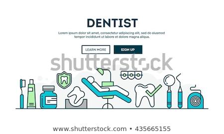 стоматолога линия Баннеры зубов зубная щетка врач Сток-фото © kali