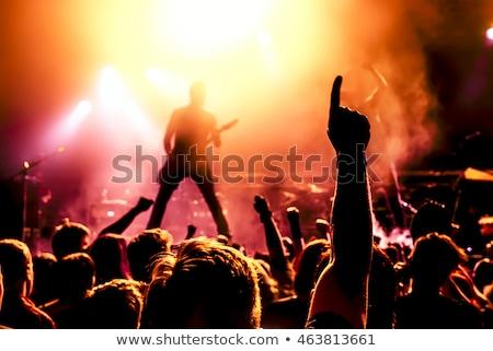 Heavy metal guitarrista foto moço cabelos longos barba Foto stock © sumners