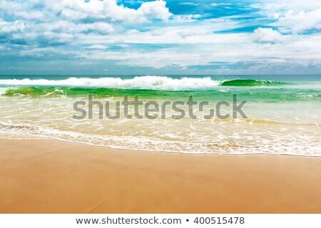 Fehér homokos tengerpart viharos égbolt gyönyörű tájkép Stock fotó © Mikko