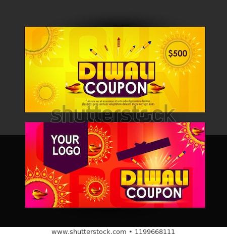 Diwali venta banner vale fuegos artificiales compras Foto stock © SArts