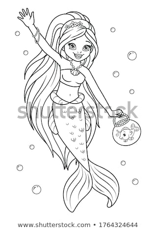 Outlined mermaid. Coloring page vector illustration. Stock photo © maia3000