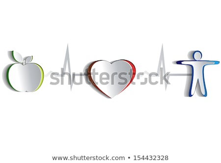 healthy human concept symbols connected with heart beat line stock photo © tefi