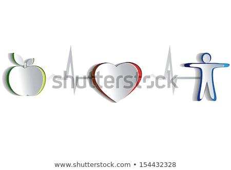 Gezonde menselijke symbolen hartslag lijn gezonde voeding Stockfoto © Tefi