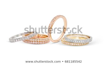 arany · eljegyzési · gyűrű · piros · rózsa · asztal · romantikus · vacsora - stock fotó © wdnetstudio