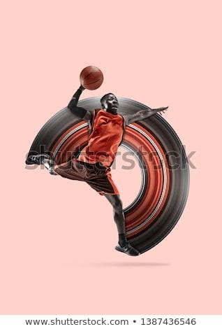 Teljes alakos sportoló labda kosárlabda izolált fehér Stock fotó © deandrobot