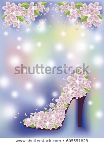 Voorjaar sakura schoenen behang mode blad Stockfoto © carodi