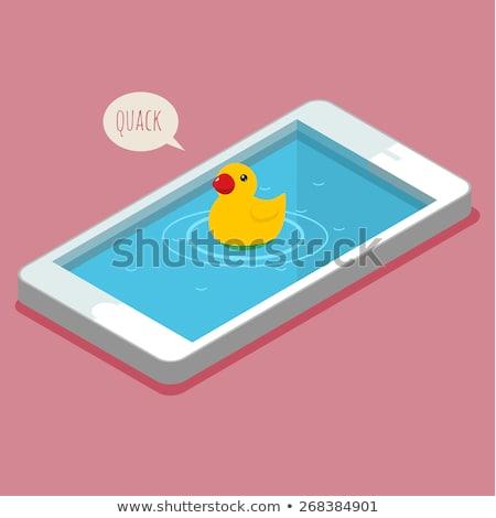 желтый резиновые смартфон изолированный студию воды Сток-фото © mady70