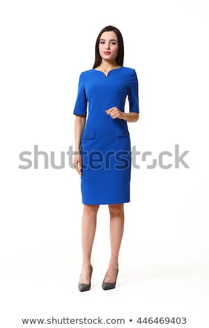 Vrouw Blauw jurk poseren witte gezicht Stockfoto © Lupen