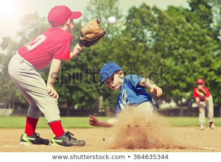 Stock photo: little league baseball player running