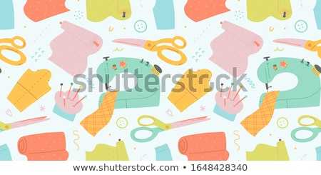 Vektor Nähen Werkzeuge Symbole Stock foto © vectorikart