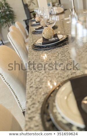 abstract of beautiful kitchen granite counter place settings and stock photo © feverpitch