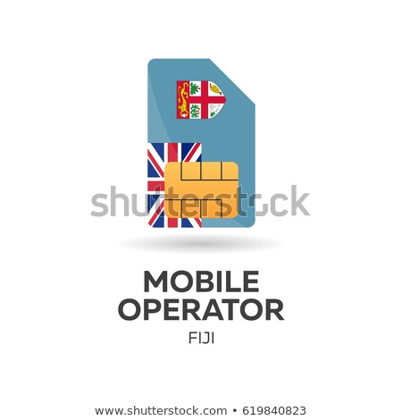 fiji mobile operator sim card with flag vector illustration stock photo © leo_edition