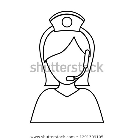 Image of smiling support phone female operator vector illustrati Stock photo © NikoDzhi